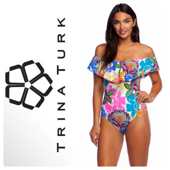 aacd1641ab Off the Shoulder Flounce Bandeau 1 Piece Swimsuit. Boutique. Trina Turk